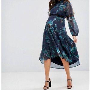 Hope & Ivy Maternity Navy Peacock Dress